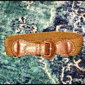 Braided Belt with Faux Crocodile Skin Detail • M/L